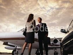 Meeting in the airport on luxury car